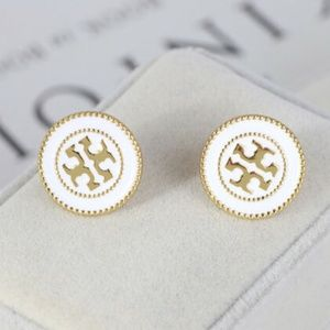 Tory Burch GOLD Circle Logo Stud Earrings